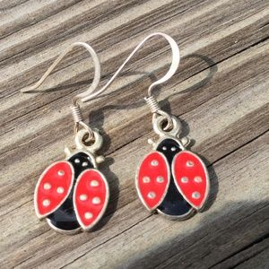 Ladybug Red and Black Dangle Earrings